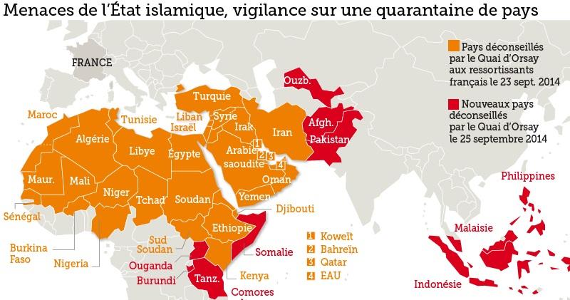 Publication d'une carte des pays à risques pour les ressortissants français