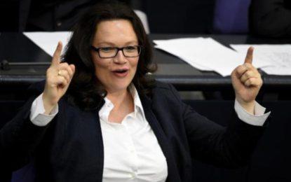 Allemagne : Andrea Nahles, première femme à la tête du SPD