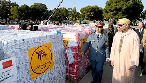 Le Roi du Maroc supervise l'envoi d'une aide humanitaire aux palestiniens